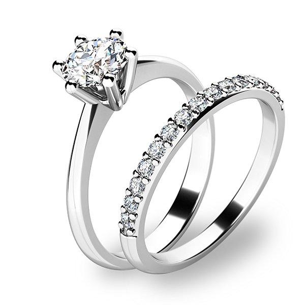 Set zásnubních prstenů v bílém zlatě 10720-SET01-BB