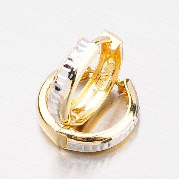 Zlaté náušnice - kruhy s gravírováním 42-31111