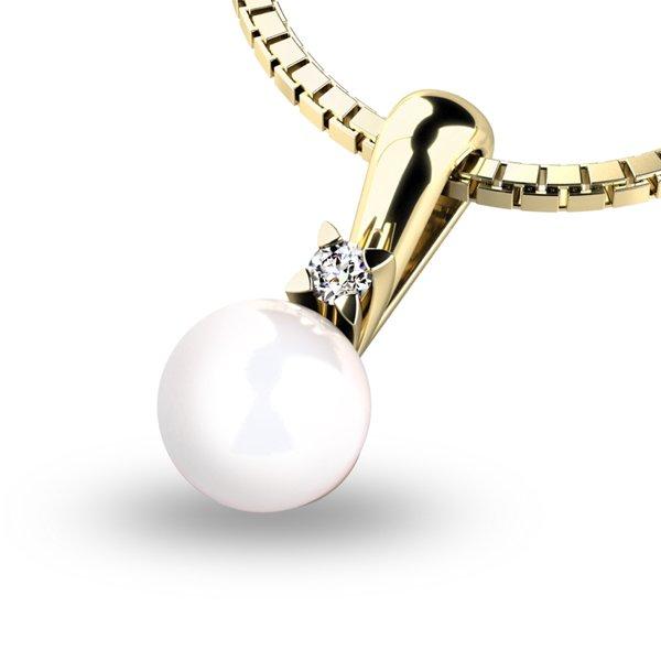 Perlový přívěsek s diamantem 10891-ZL