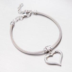 Stříbrný náramek se srdcem B1602507-1256-SLX