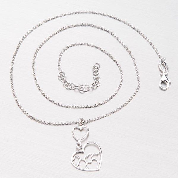 Náhrdelník ze stříbra se srdíčky N1700896-0331-SLX