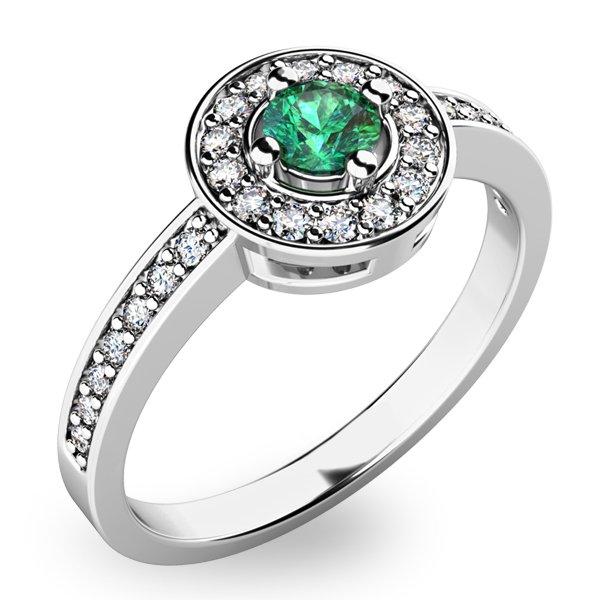 Prsten ze zlata se smaragdem a diamanty 10802B-SMAR