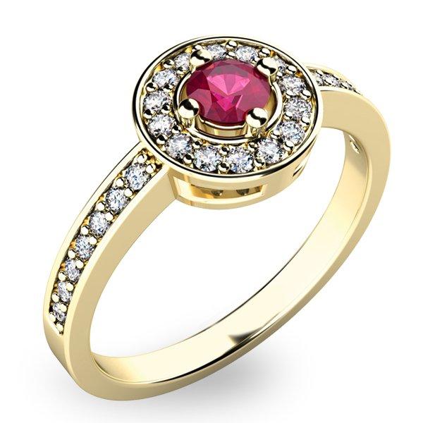 Zlatý prsten s rubínem a diamanty 10802Z-RUB