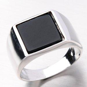 Stříbrný prsten s onyxem R1502510-0080-SLX