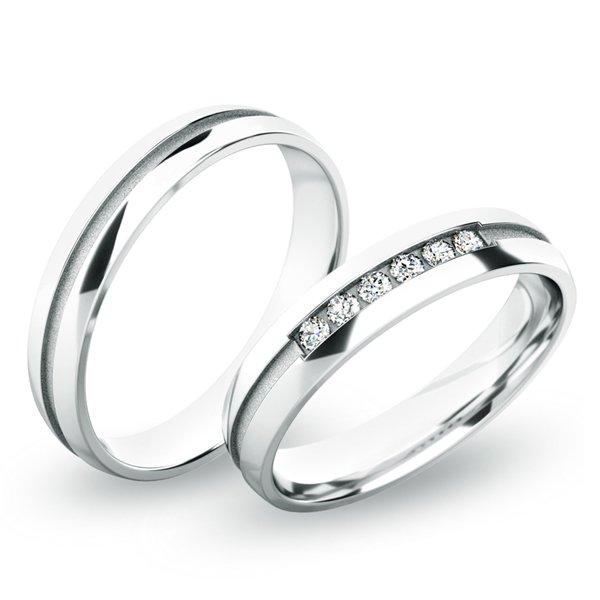 Snubní prsteny z bílého zlata SP-61059
