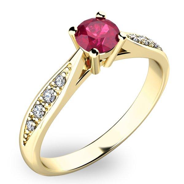 Dámský prsten s rubínem a diamanty 10745Z-RUB