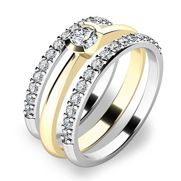 Krásný set zásnubních prstenů ze žlutého a bílého zlata 10840-SET02-ZB