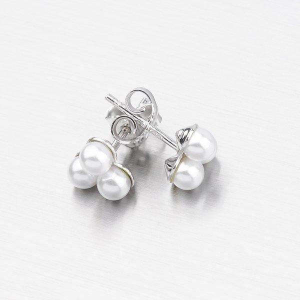 Stříbrné peckové náušnice s perlami 9145D4