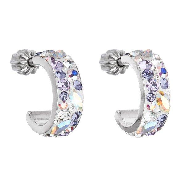Stříbrné náušnice kruhy s krystaly Swarovski fialový půlkruh 31118.3 Violet 31118.3 VIOLET