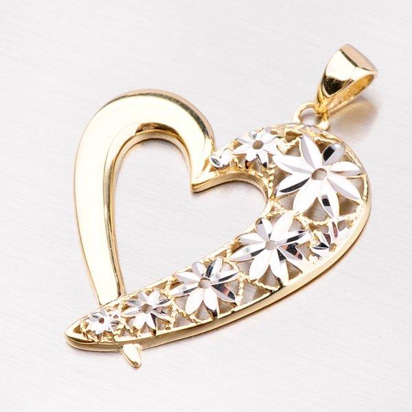 Zlatý přívěsek ve tvaru srdce 43-2877