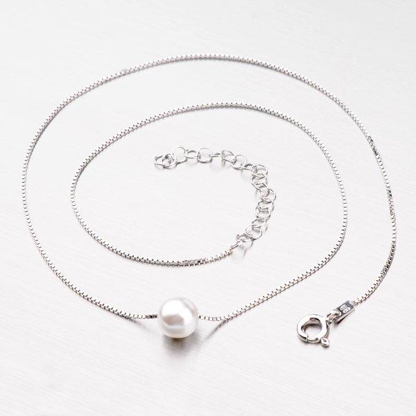 Stříbrný náhrdelník s perlou M3046