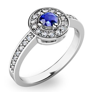 Prsten ze zlata se safírem a diamanty 10802B-SAF