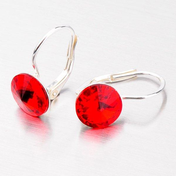 Náušnice ze stříbra s červeným krystalem N311ORT