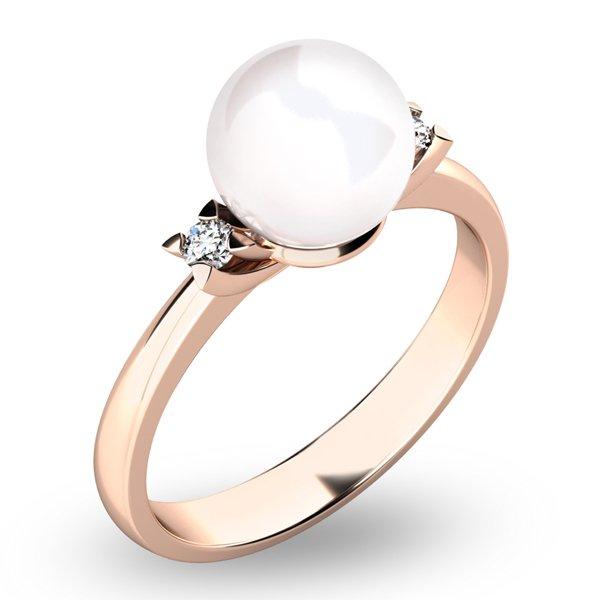 Perlový prsten s diamanty 10888-CV