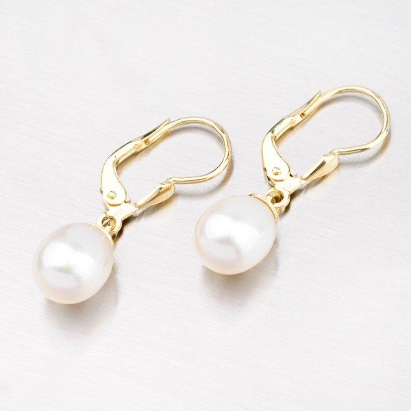 Visací zlaté náušnice s perlou 42-31216