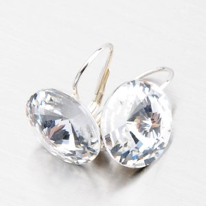 Stříbrné náušnice s krystaly 14 mm N335B-JK