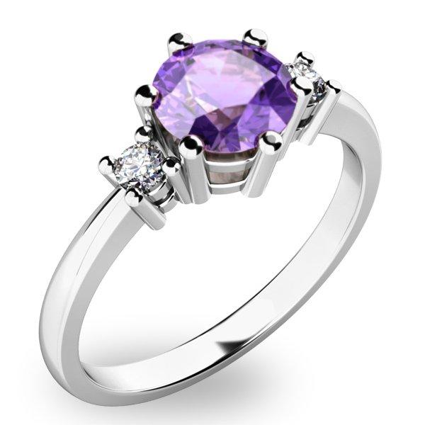Nádherný prsten s ametystem diamanty 10856B-AME
