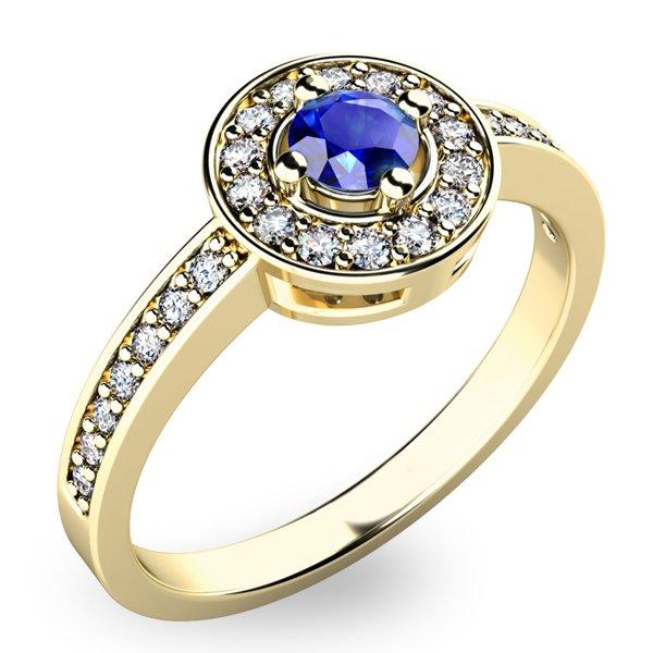 Prsten ze zlata se safírem a diamanty 10802Z-SAF