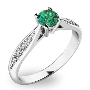 Dámský prsten se smaragdem a diamanty 10745B-SMAR