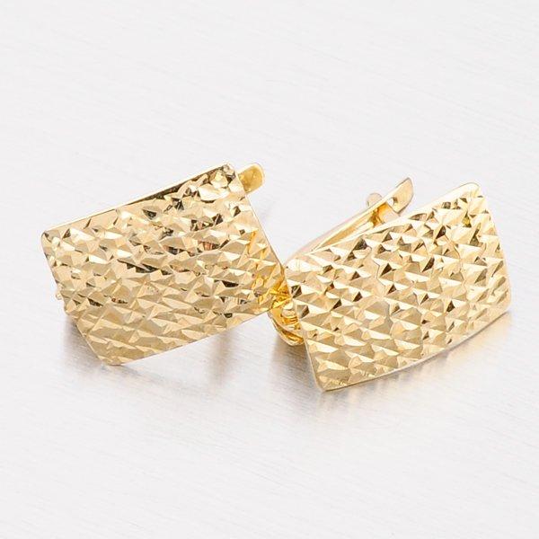 Náušnice ze žlutého zlata zdobené gravírováním 42-3919