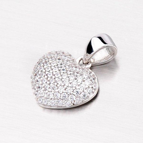 Přívěsek z bílého zlata ve tvaru srdce 13-148