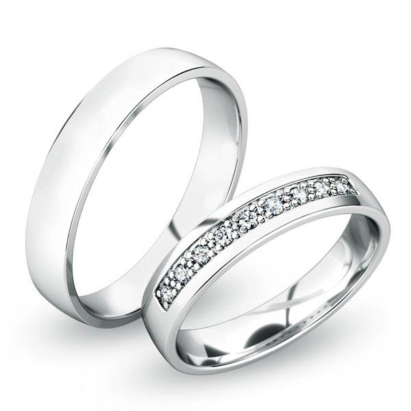 Snubní prsteny z bílého zlata SP-61058