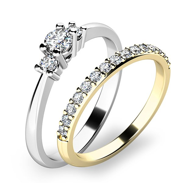 Úžasný set zásnubních prstenů ze zlata 10843-SET01-BZ
