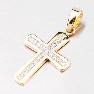 Zlatý přívěsek ve tvaru kříže se zirkony 43-21343