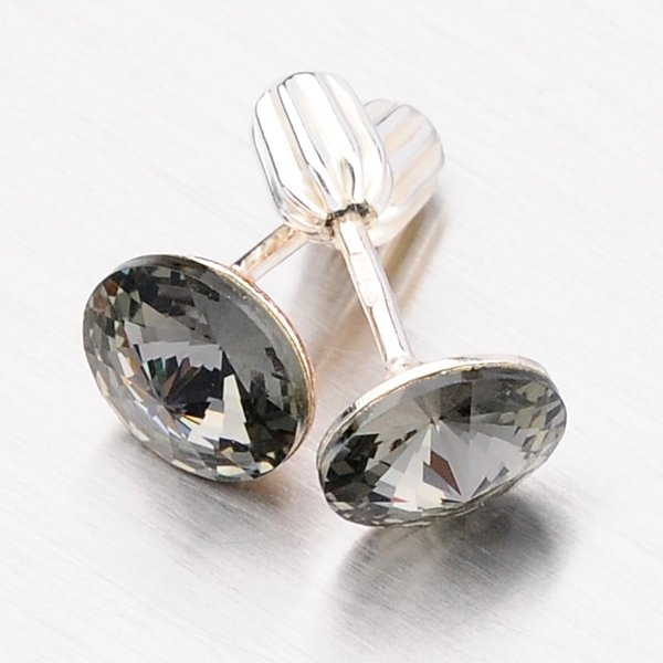 Stříbrné náušnice s krystaly 8 mm N337ČN