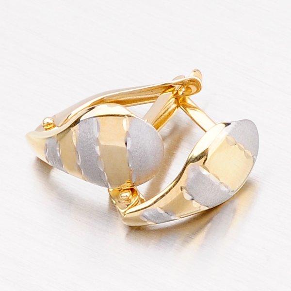 Zlaté náušnice s povrchovým matováním 42-3073