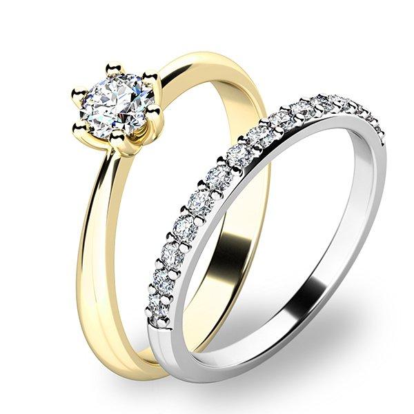 Set prstenů ze žlutého a bílého zlata 10819-SET01-ZB
