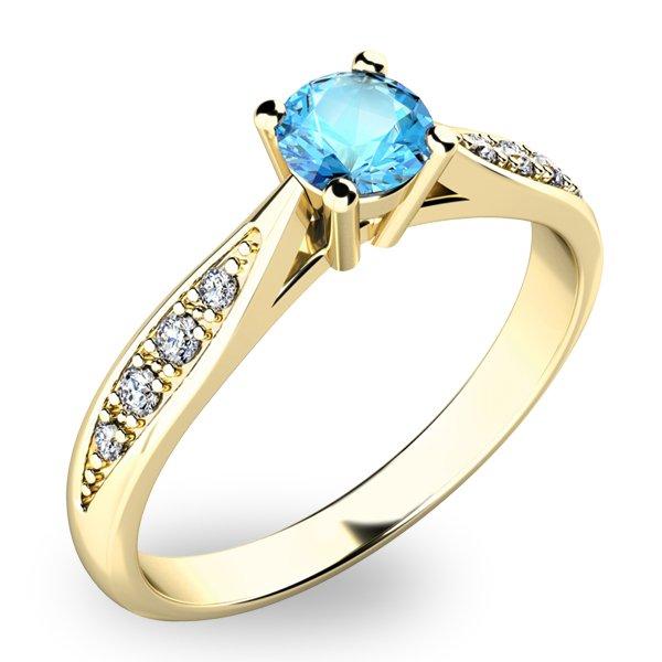 Prsten s diamanty a Topazem - Swiss Blue 10745Z-TPZ