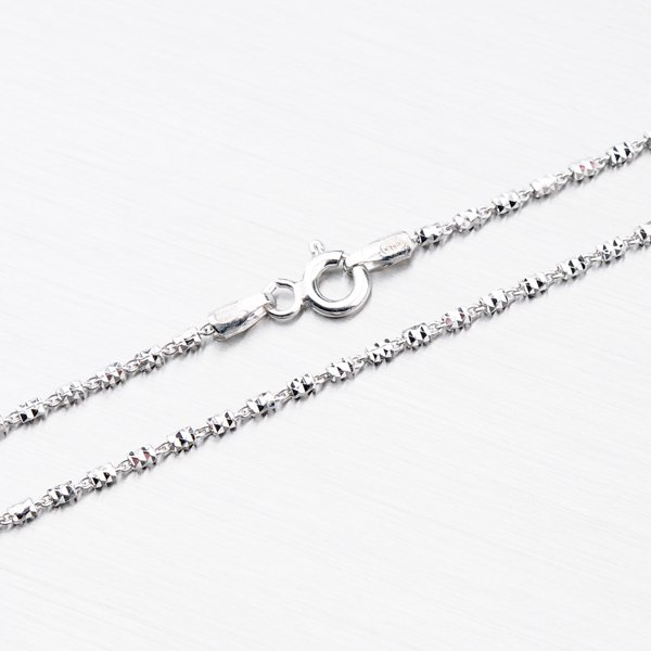 Stříbrný řetízek zdobený facetami CHRS-TUBE2BRT-FT-030
