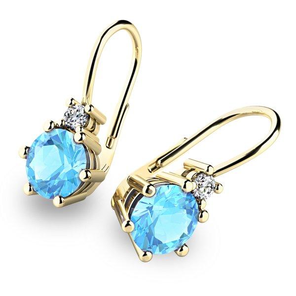 Krásné náušnice s topazy a diamanty 10857-ZL-TPZ