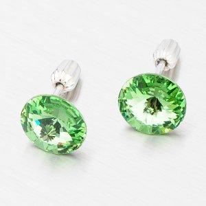 Stříbrné pecky se zeleným krystalem 10 mm N381ZEL