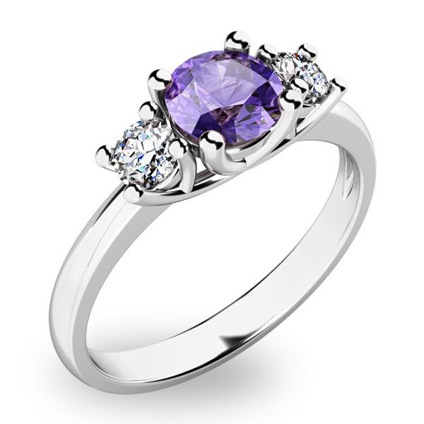 Dámský prsten s tanzanitem a diamanty 10803B-TZNT