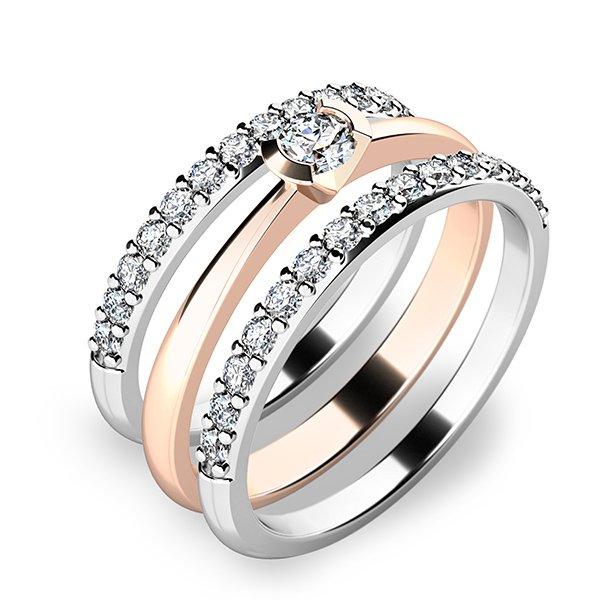 Krásný set zásnubních prstenů z růžového a bílého zlata 10840-SET02-RB