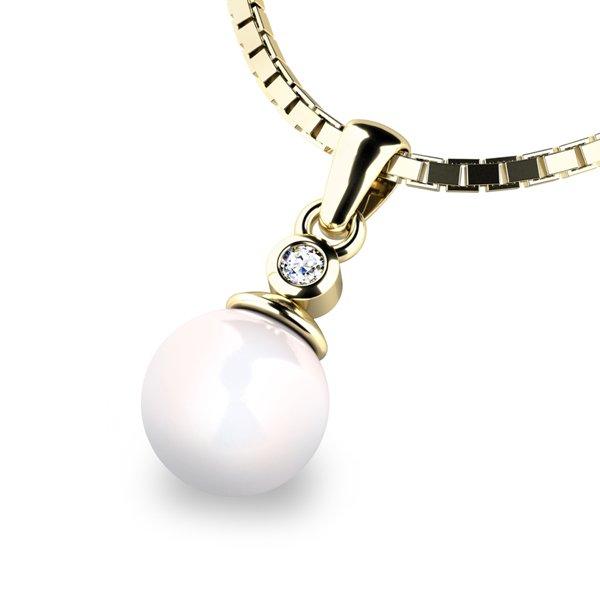 Přívěsek s perlou a diamanemt 10870-DIA