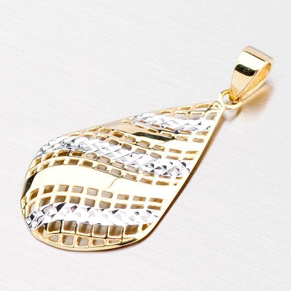 Zlatý přívěsek - kapka zdobená gravírováním 43-21436