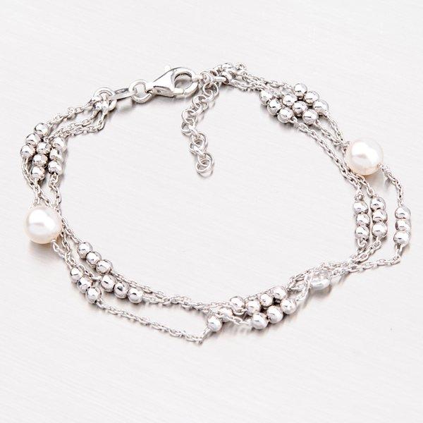Stříbrný náramek s perlami a zirkonem B1500083-0398-SLX