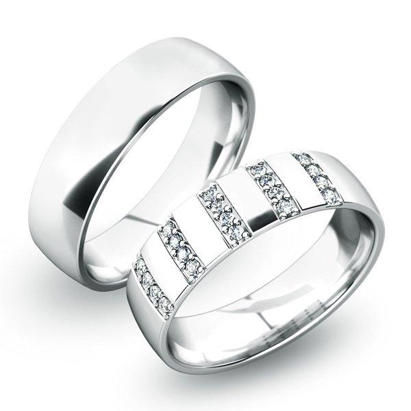 Snubní prsteny z bílého zlata SP-61025B
