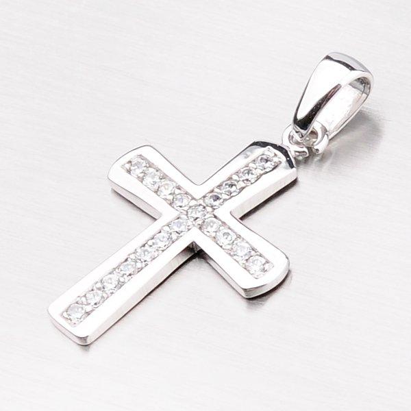 Přívěsek z bílého zlata ve tvaru kříže 43-21347