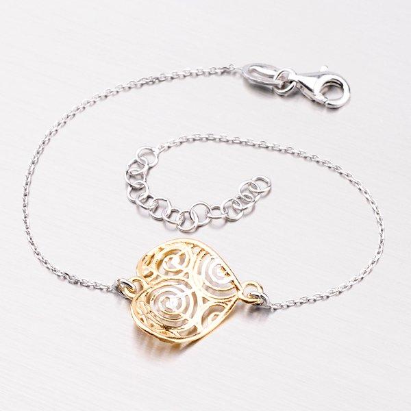 Stříbrný náramek se zlaceným srdíčkem 92003043-30-SLX