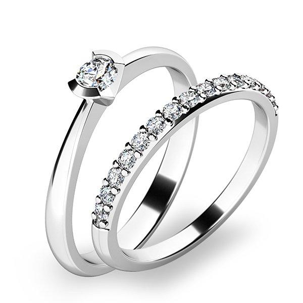 Krásný set zásnubních prstenů z bílého zlata 10840-SET01-BB