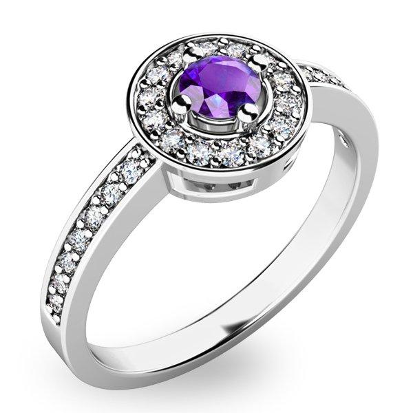 Dámský prsten s tanzanitem a diamanty 10802-B-TZNT
