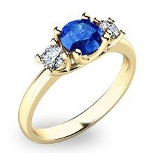Zlatý prsten se safírem a diamanty 10803Z-SAF