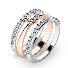 Set prstenů z růžového a bílého zlata 10819-SET02-RB