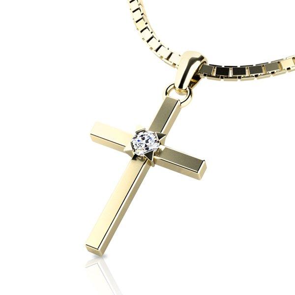 Zlatý kříž s diamantem 10872-ZL