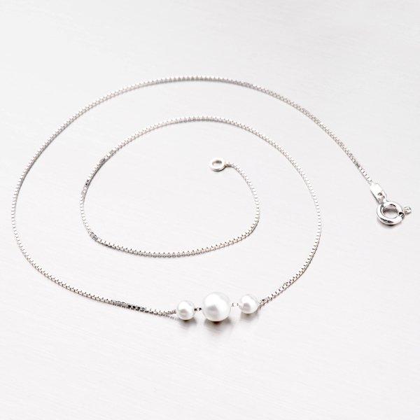 Perlový náhrdelník ze stříbra M3047