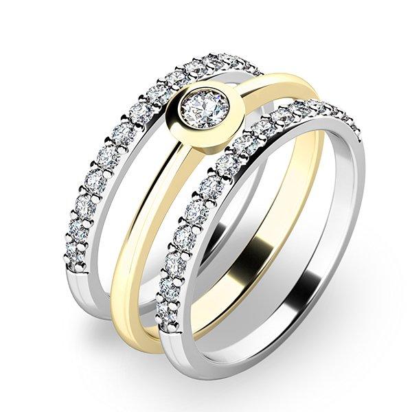Set zásnubních prstenů ze žlutého a bílého zlata 10807-SET02-ZB